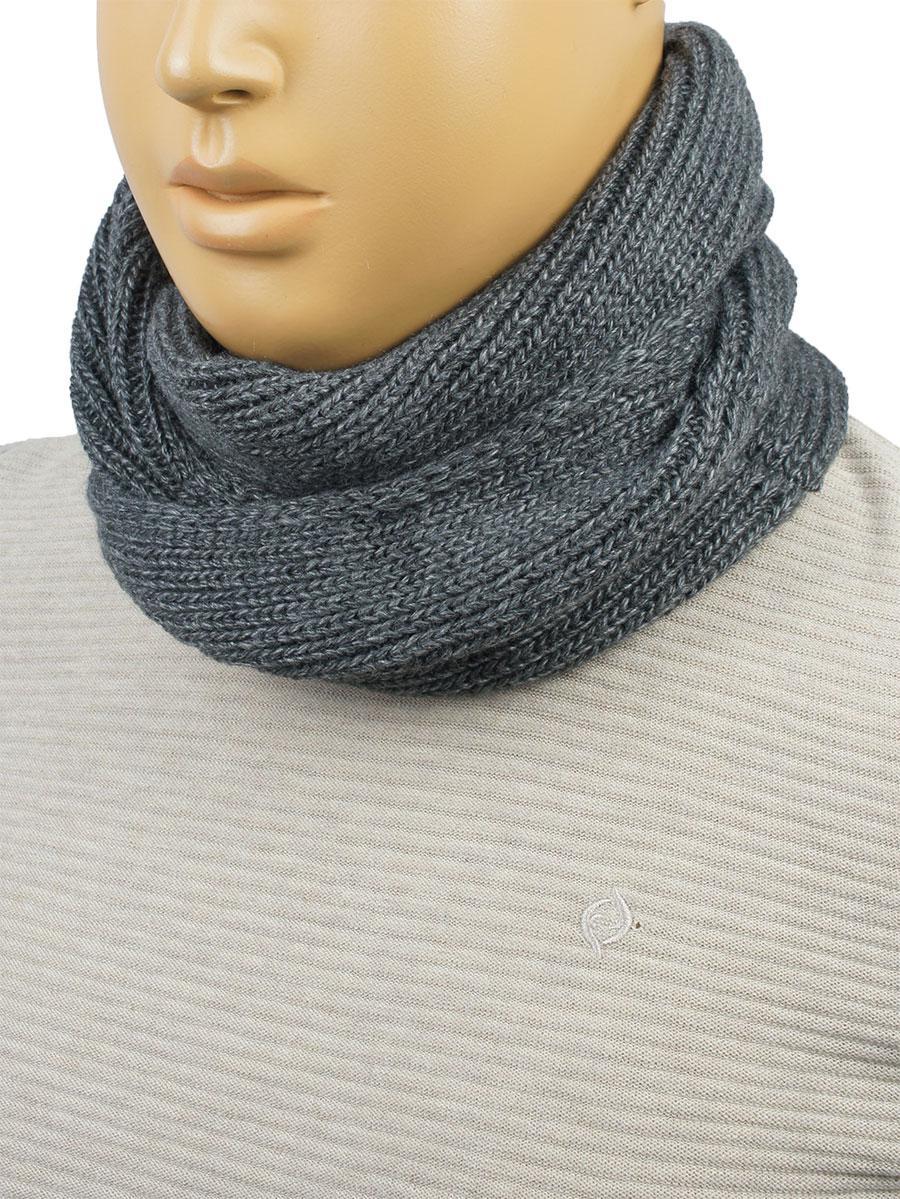 вязаный мужской шарф снуд Apex м51 Grey серого цвета в категории