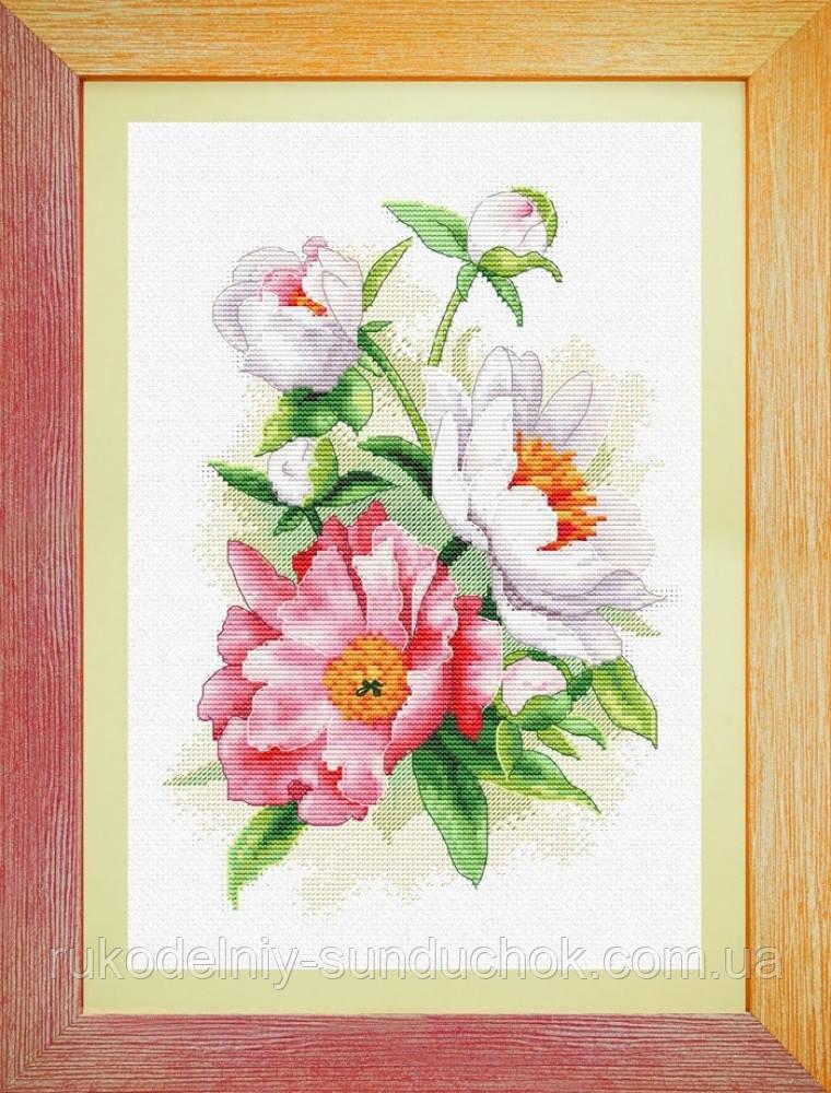Набор для вышивки крестом Садовые пионы OLANTA VN-052