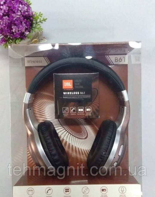 Навушники безпровідні блютус підключення JBL bluetooth B61 з радіо