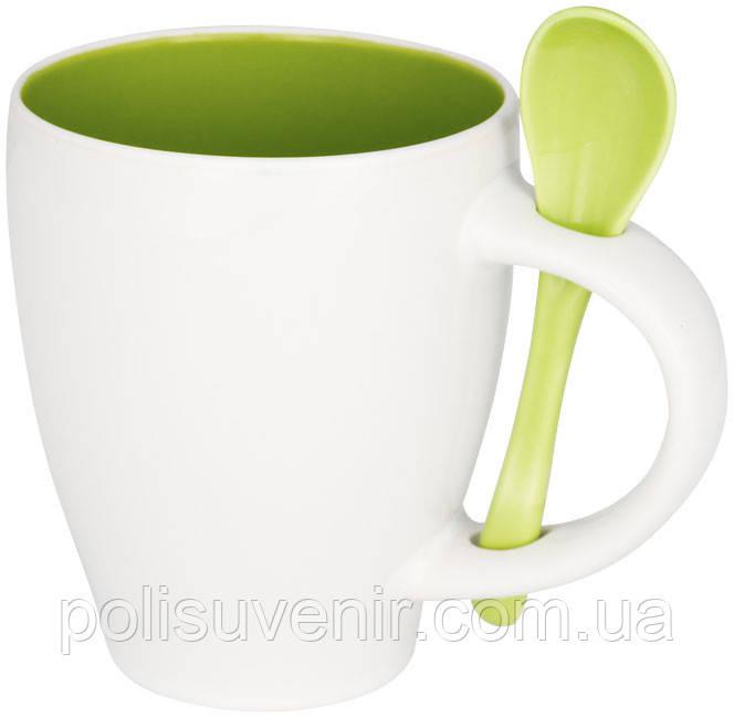 Керамічна чашка з ложкою з модним дизайном