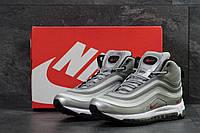 Кроссовки мужские Nike 97 зимние высокие молодежные кожа нубук+прес кожа (серые), ТОП-реплика, фото 1