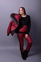 Женский зимний костюм-тройка с мехом (размеры от 38 до 82)  liv78005