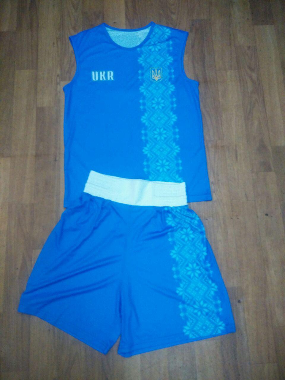 Боксерская форма синяя вышивка