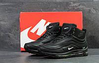 Мужские зимние кроссовки Nike 97 высокие стильные повседневные  прес кожа (черные), ТОП- реплика, фото 1