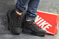 Зимние мужские кроссовки в стиле Nike Huarache зима стильные повседневные под джинсы черные