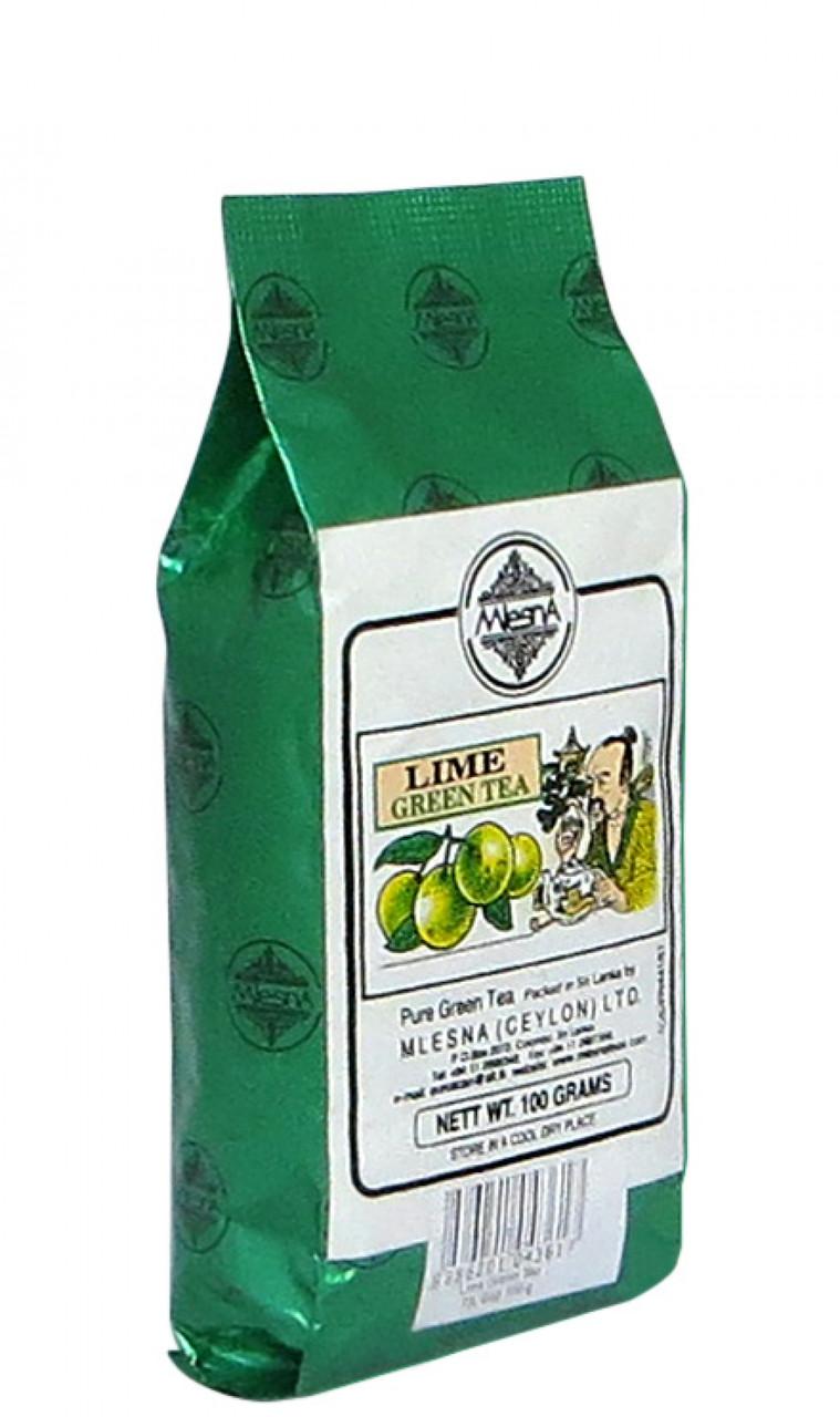 Зеленый чай Лайм, LIME GREEN TEA, Млесна (Mlesna) 100г.