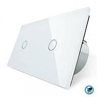 Бесконтактный выключатель Livolo 2 канала (1-1) белый стекло (VL-C701/C701-PRO-11), фото 1