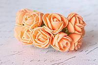 Букетик розочек 2.2 - 2,5 см диаметр мини 12 шт. ярко-персикового, оранжевого цвета на стебле, фото 1