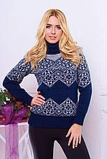 """Гарний теплий жіночий в'язаний светр з коміром під горло і візерунком """"Дженні"""" шоколадного кольору, фото 2"""