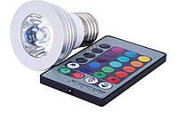 Лампа Spot E27 RGB 3 Wt с пультом, направленного света, фото 1
