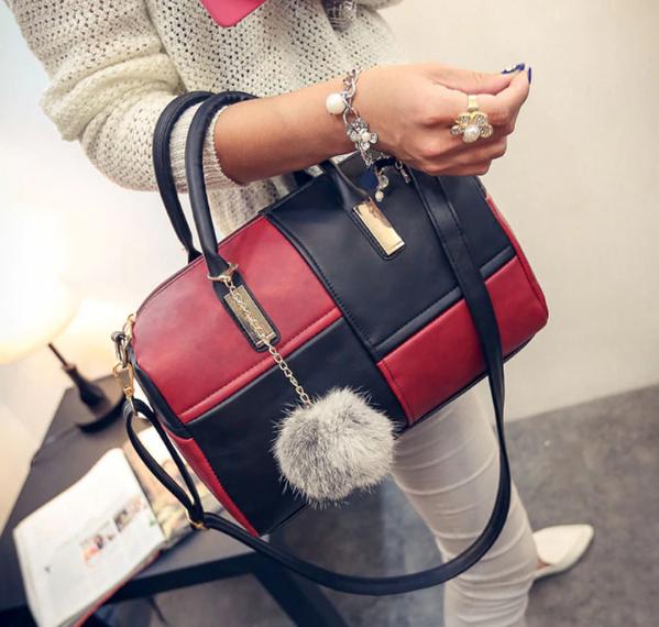 Женская сумка через плечо черный с красным