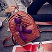 Рюкзак женский кожзам Стеганый Коричневый, фото 7
