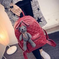 Рюкзак женский кожзам Стеганный Бордовый, фото 1