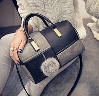 Женская сумка через плечо черный с серым, фото 1