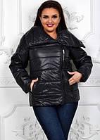 Куртка женская демисезонная черная батал