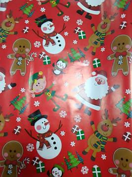 Новогодняя подарочная бумага размер 1 метр на 70 см красная с рисунком 1 шт