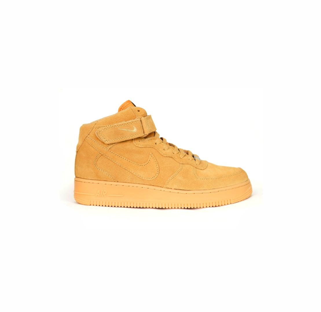401859ce Мужские зимние кроссовки Nike Air Force Winter (в стиле Найк Аир Форс)  светло-коричневые, замш, мех