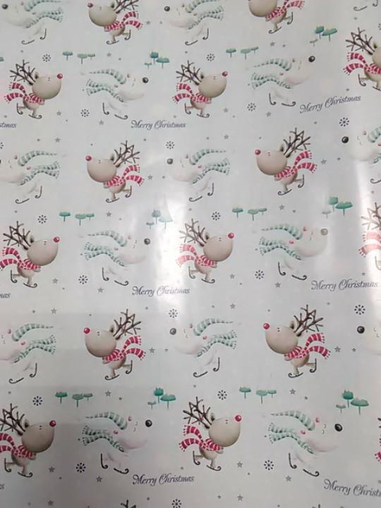 Пакувальний папір новорічна розмір 1 метр 70 см біла з малюнком олені 1 шт