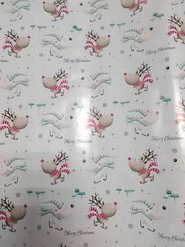 Упаковочная бумага новогодняя размер 1 метр на 70 см белая с рисунком олени 1 шт