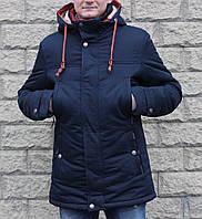 Мужская зимняя парка куртка больших размеров ZPJV синяя 60 размер