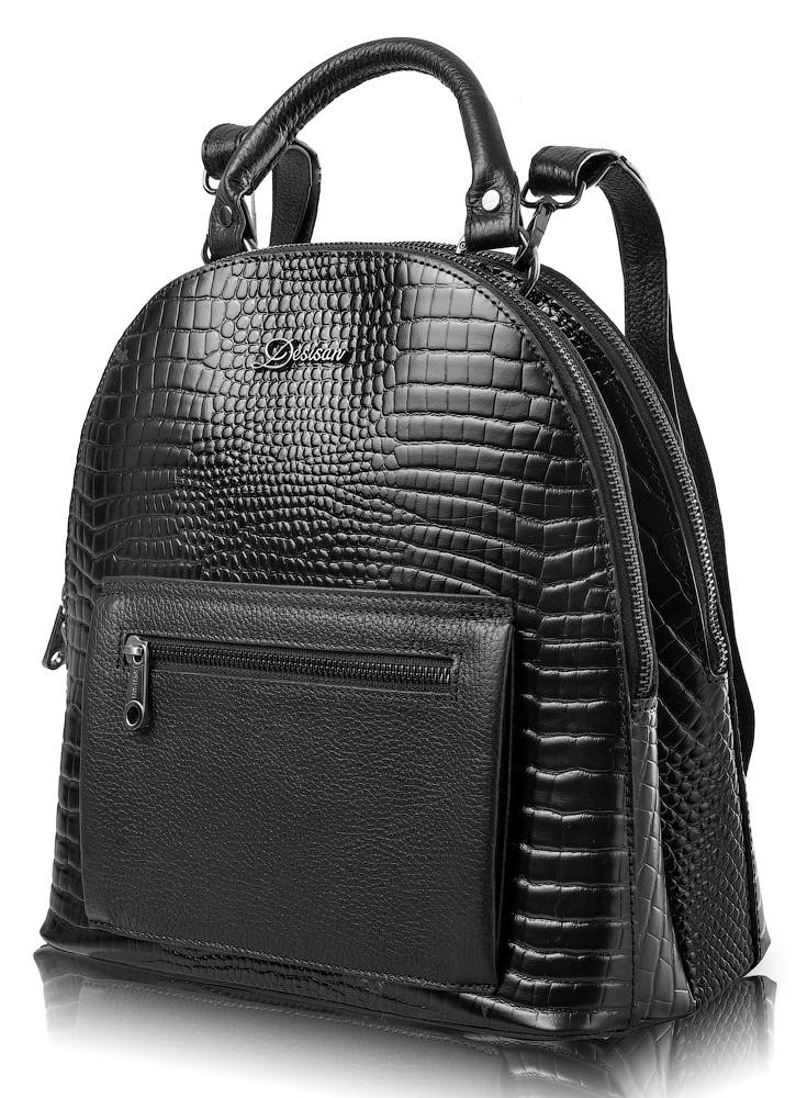 b8ebe02e3c22 Женский кожаный рюкзак DESISAN SHI6001-633 чёрный, 10 л - SUPERSUMKA  интернет магазин в