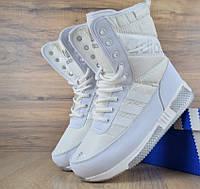 Зимние женские сапоги Adidas белые. Живое фото (Реплика ААА+) 50086d4edda85