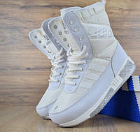 Зимние женские сапоги Adidas белые. Живое фото (Реплика ААА+), фото 1