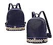 Рюкзак женский кожзам однотонный с заклепками Синий, фото 2