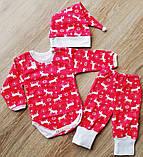 Детский костюм Бодик, шапочка и штанишки Новогодние Олени с начёсиком, фото 3