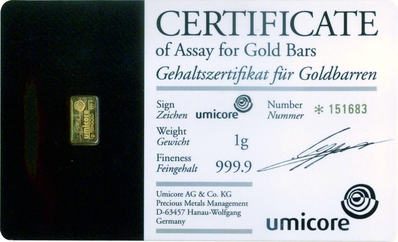 Слиток золота 1 грамм Umicore