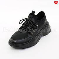 Мужские спорт-туфли из кожи и стрейчи , фото 1