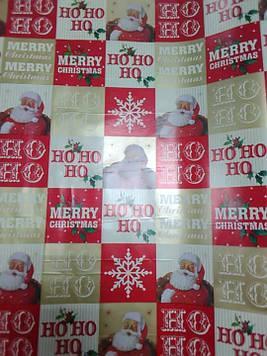 Новогодняя подарочная бумага размер 1 метр на 70 см цветная дед мороз 1 шт
