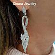Серебряные свадебные серьги Лебединая Верность - Женские серьги висюльки  серебро Лебеди, фото 4