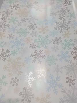 Упаковочная бумага размер 1 метр на 70 см новогодняя с рисунком снежинки 1 шт