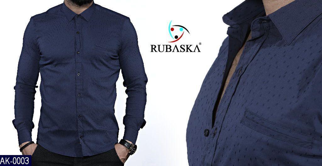 Мужская рубашка синяя Rubaska Турция Размер: L, M, S, XL, XXL Материал: 95% хлопок 5% стрейч