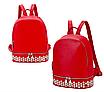 Рюкзак женский кожзам однотонный с заклепками Красный, фото 2
