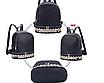 Рюкзак женский кожзам с заклепками однотонный Черный, фото 3