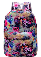 Рюкзак женский большие цветы Черный с розовыми цветами