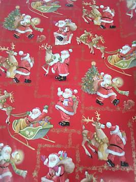 Упаковочная бумага размер 1 метр на 70 см новогодняя красная с рисунком дед мороз 1 шт