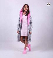 """Женский комплект махровый халат с капюшоном и ночная р.42-50 """" Марго"""", фото 1"""