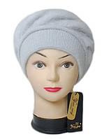 Шапка Yuan Meng ( шапка-берет ) женская вязаная Lorena ангора серого светлого цвета