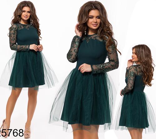 aa810bcab76 Купить Вечернее платье длинный рукав из сетки цвет бутылка 25768 ...
