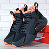 Зимние кроссовки Nike Huarache X Acronym City Winter black orange с мехом. Живое фото (Реплика ААА+)