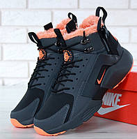 Зимние кроссовки Nike Huarache X Acronym City Winter black orange с мехом. Живое фото (Реплика ААА+), фото 1