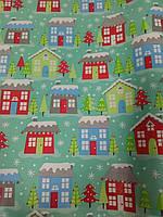 Упаковочная бумага с рисунком новогодние домики