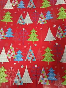 Упаковочная бумага размер 1 метр на 70 см новогодняя с рисунком ёлочки 1 шт