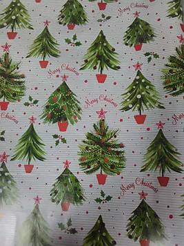Упаковочная бумага новогодняя с рисунком ёлочки в горшочке размер 1 метр на 70 см 1 шт