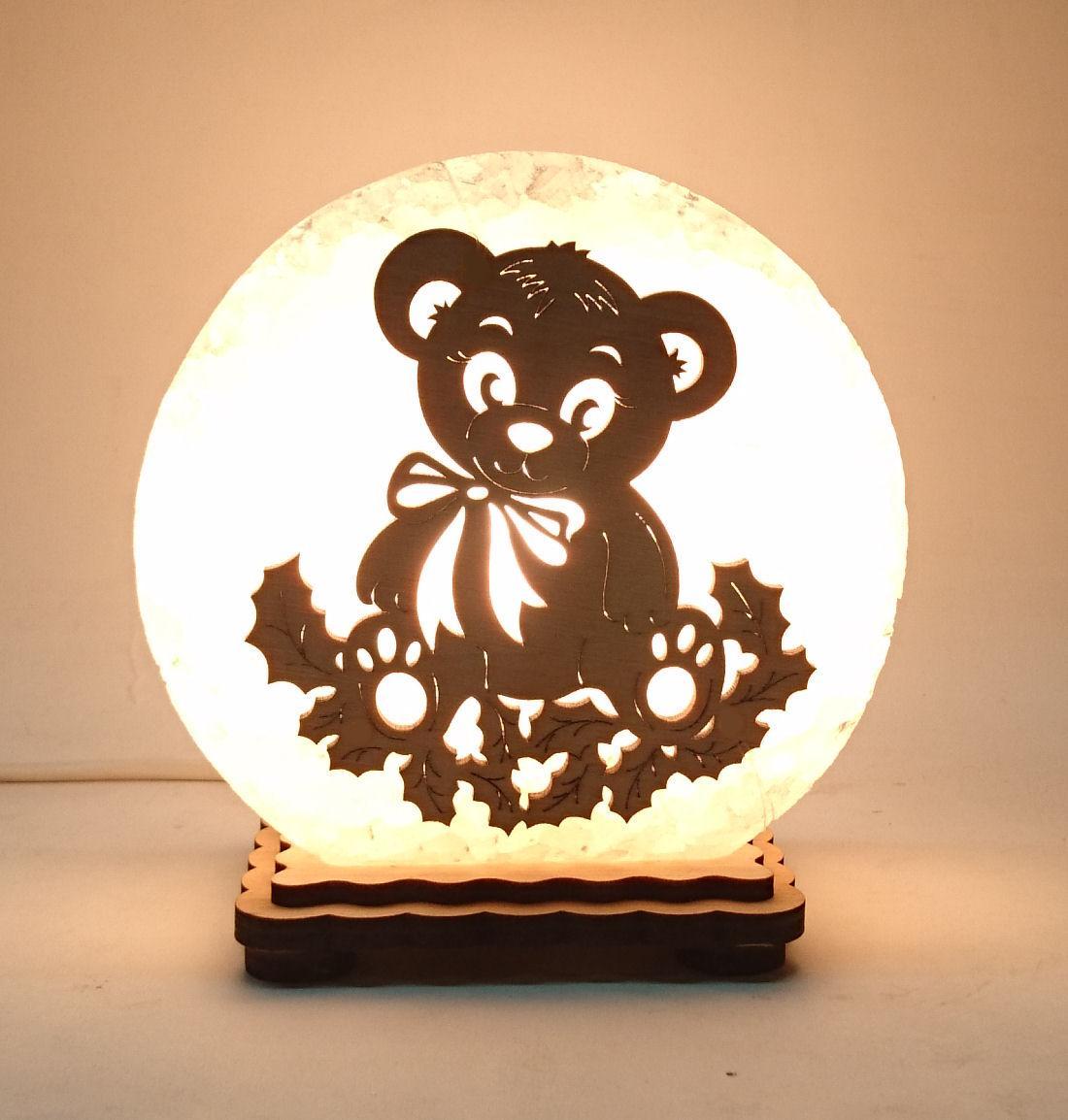 """Соляная лампа круглая маленькая """"Мишка в листьях"""""""