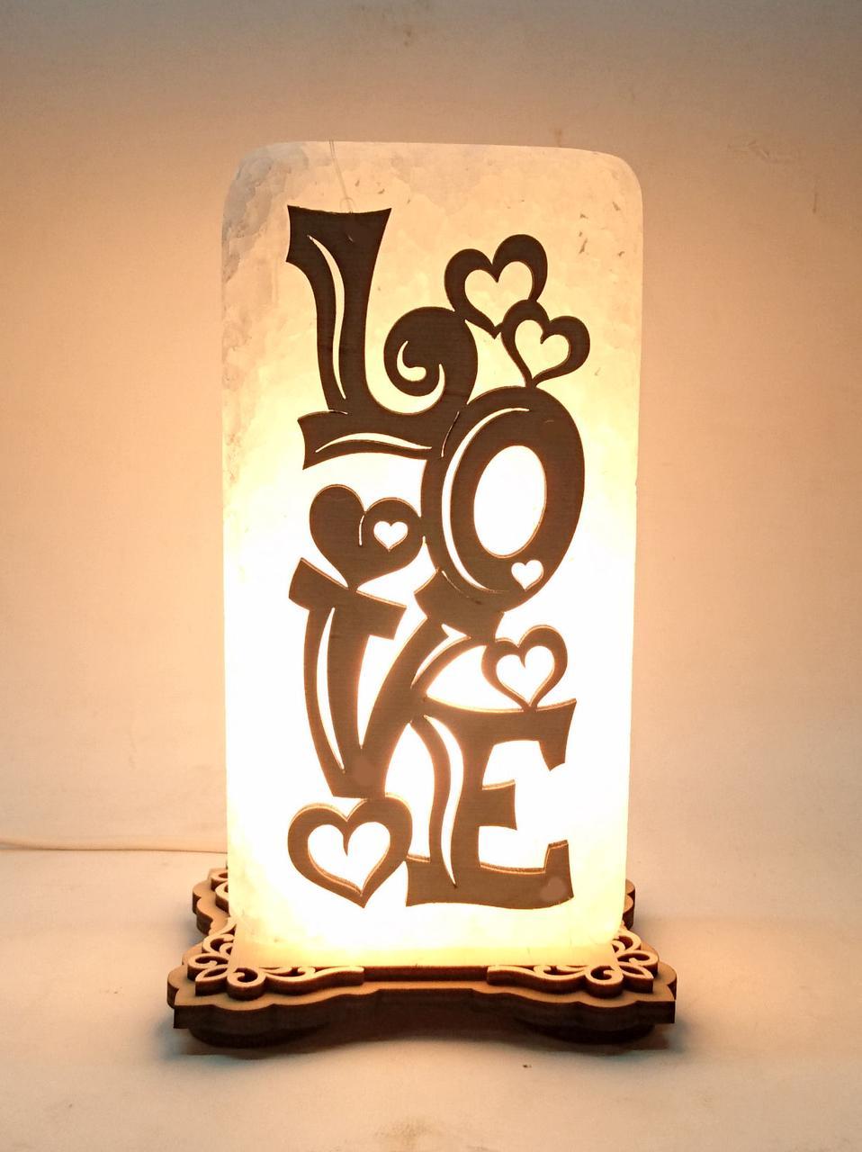 Соляной светильник  прямоугольник Love