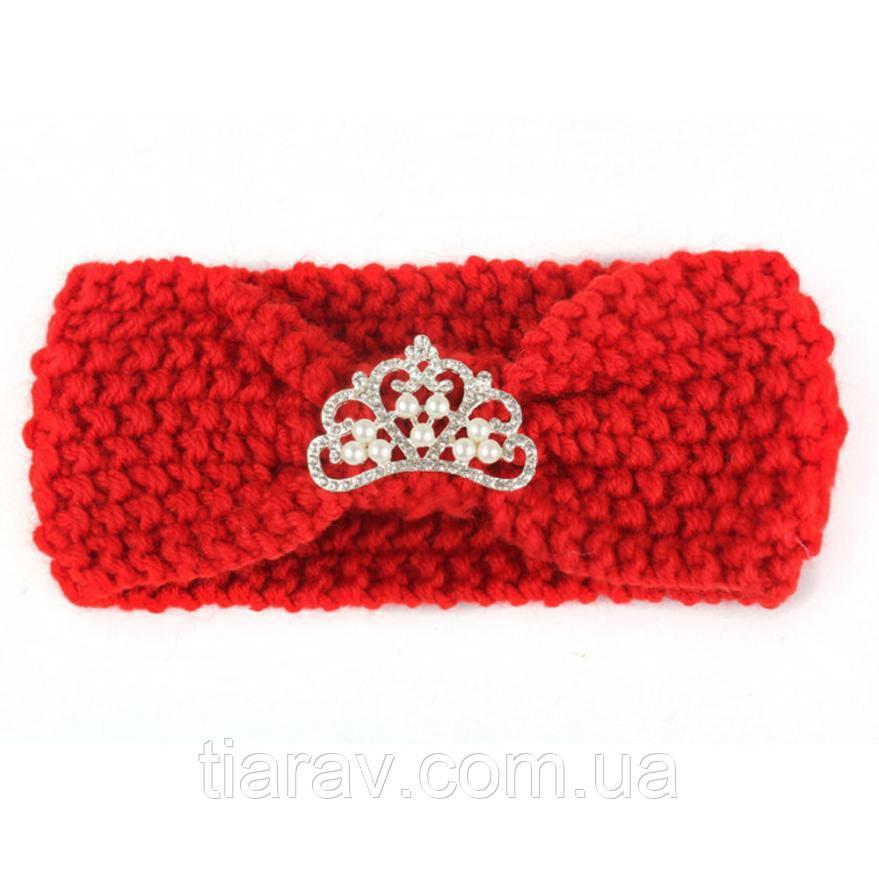 Детская повязка на голову красная вязаная , повязочка на ушки